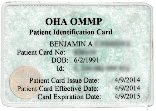 Oregon Medical Marijuana Program Card